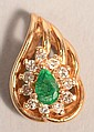 14 KT EMERALD & DIAMOND GOLD PENDANT 1.9 GRAMS