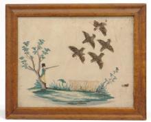 19th c. Hunting Watercolor