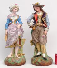 Pair 19th c. Porcelain Statues