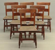 Set Of Six 19th c. Tiger Maple Chairs