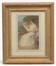 English School Seated Woman With Scroll
