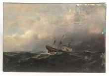 19th c. Painting Sinking Ship