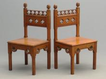 Pair Gothic Chairs Labeled Hayes & Finch