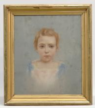 19th c. Pastel Of Child