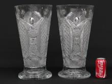 Pair Cut Glass Signed Vases