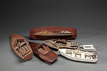 Five Wooden Model Duck Boats