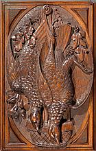 Two Black Forest Carved Wood Plaques