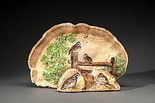 Quail Painting on a Tree Shelf Mushroom