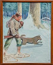 Man and Dog Setting Traps