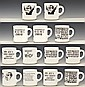 Set of 13 Nixon/Watergate Political Cartoon Mugs
