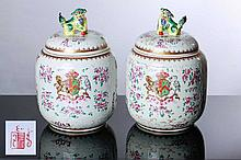 PAIR OF ARMORIAL POT WITH COVERS