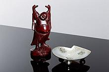 FIGURE OF BUDDHA AND A CHINESE RING HOLDER