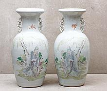 PAIR OF VASES WITH HANDLE
