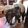 Twentieth century large metal elephant, with gilt