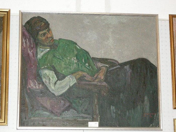 Emile Zoir, olja, vilande kvinna, 88X106.