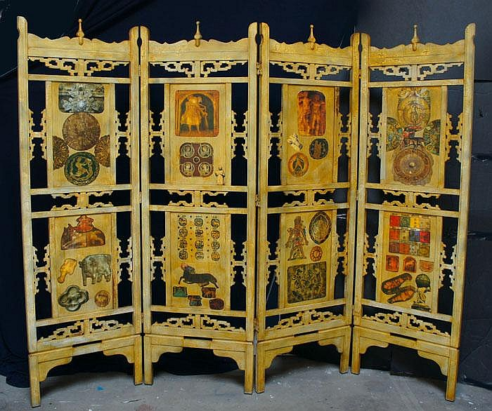 ASIAN CARVED ZODIAC SCREEN(?),( c. 1950-1970)