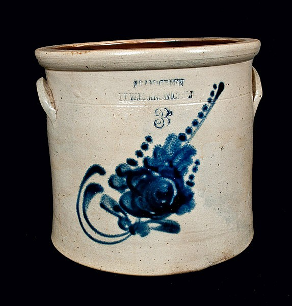Rare ADAM GREEN / NEW BRUNSWICK, NJ Stoneware Crock
