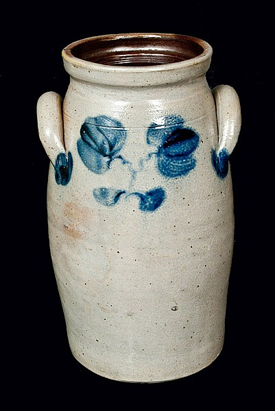 One-Gallon Stoneware Churn with Floral Decoration