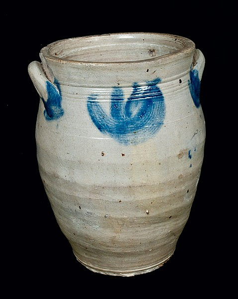 Two Gallon Ovoid Stoneware Crock attrib. William Capron, Albany, NY, 1800-1805