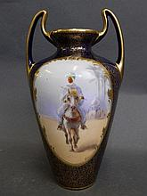 A Royal Doulton twin handled vase painted with a