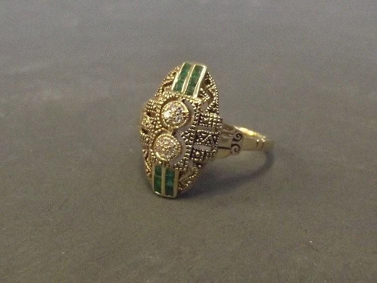 A 9ct gold Art Deco style emerald and diamond set