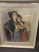 A framed watercolour, Hallam gypsy girls, signed