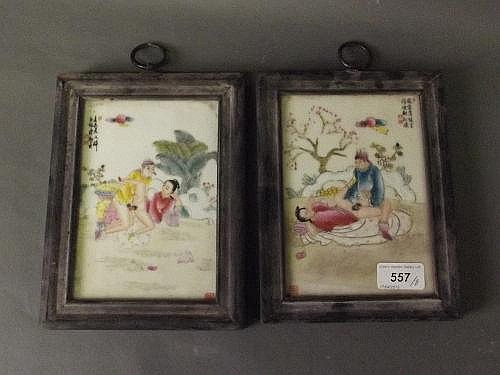 A pair of Chinese porcelain plaques decorated with