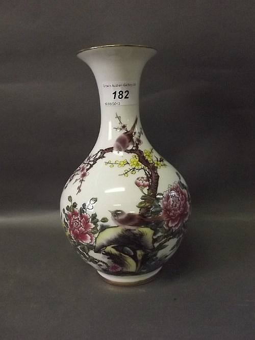 A C20th Chinese porcelain vase with enamel painted