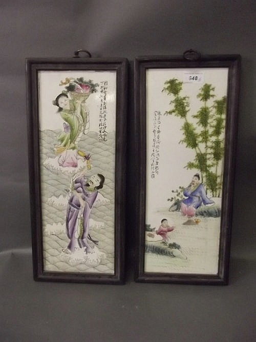 Two Chinese porcelain plaques decorated with