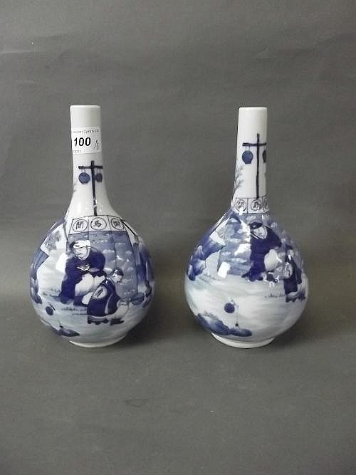 A pair of Chinese blue and white pottery vases