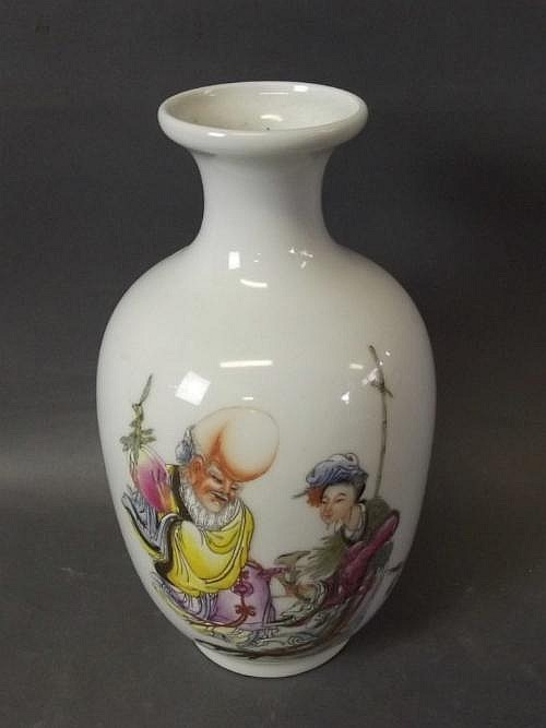 A Chinese vase with painted enamel decoration of a