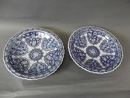A pair of large Chinese C19th blue and white bowls