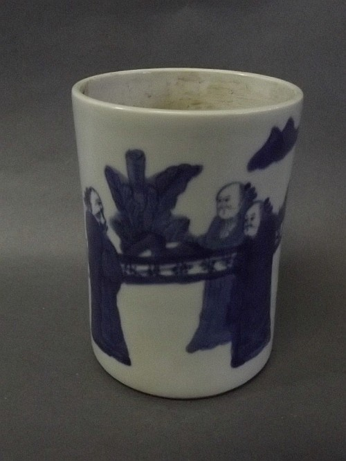 A Chinese blue and white brushpot with painted
