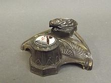 An Art Nouveau style bronze inkwell with cicada