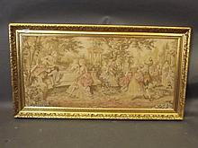 A framed 18th Century style embroidery, garden
