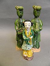 Two Chinese green glazed figures of female