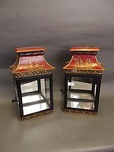 A good pair of red lacquer metal lanterns