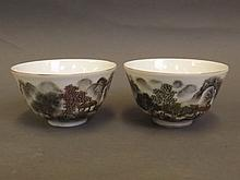 A pair of Chinese porcelain rice bowls with