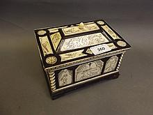 An early Continental ivory and ebony casket with