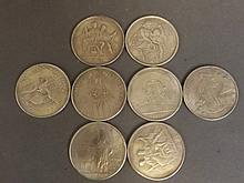 Eight assorted replica world coins, 1½