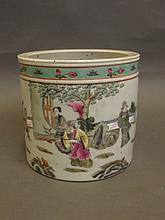 A Chinese porcelain brushpot with painted enamel