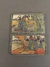 A pair of Dutch wall tiles decorated with figures