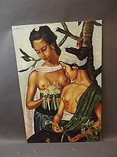 An Indonesian oil on board, two semi-nude women,