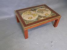 A brass bound oak 'Map' coffee table, 25½