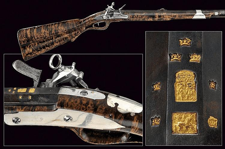 A beautiful flintlock gun in roman style