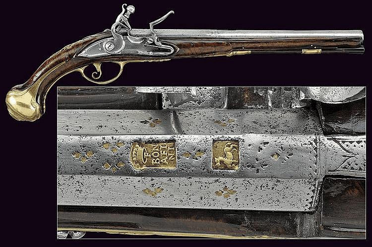 A flintlock pistol by F. Bonafini