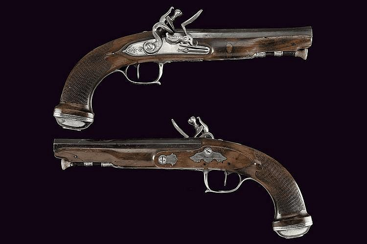 An pair officer's of flintlock pistols