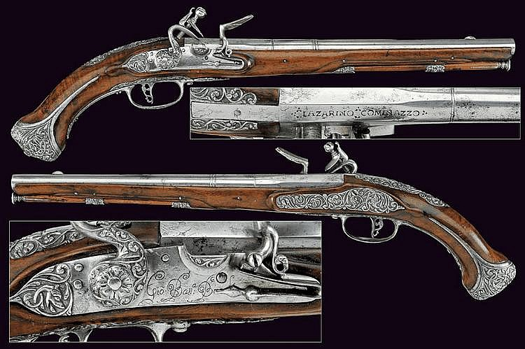 A fine pair of flintlock pistols by Gio. Batt. Bucele