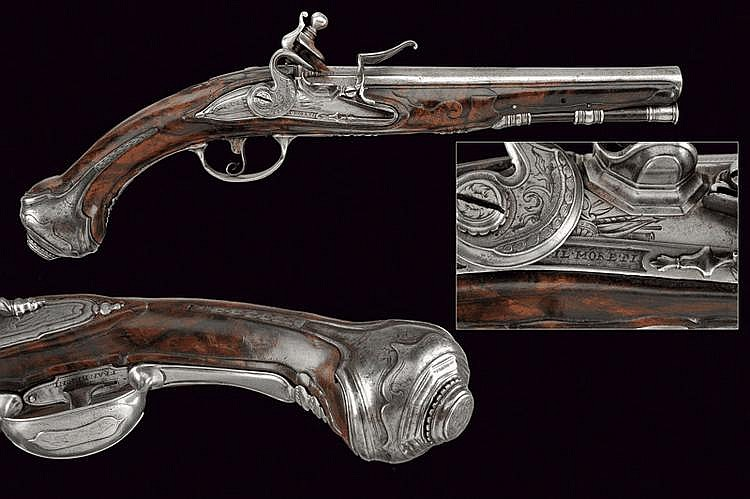 An interesting flintlock pistols with three signatures