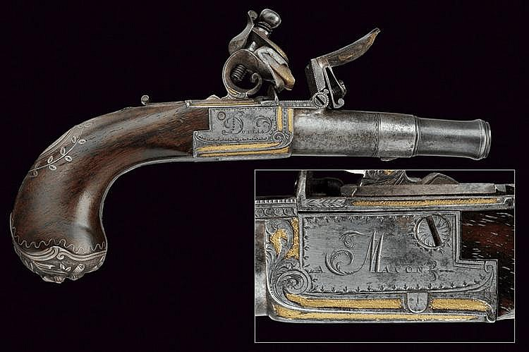 A flintlock pocket pistol